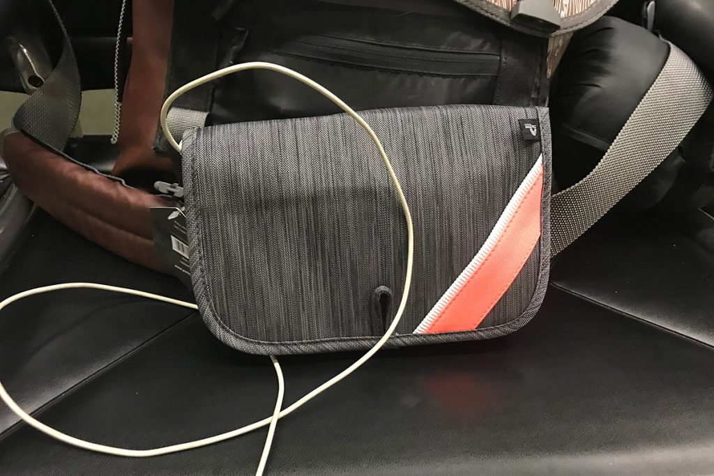 Cords organized while traveling