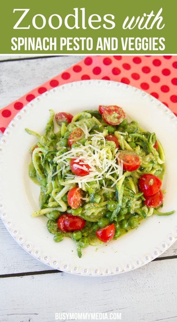 Zoodles with Spinach Pesto and Veggies