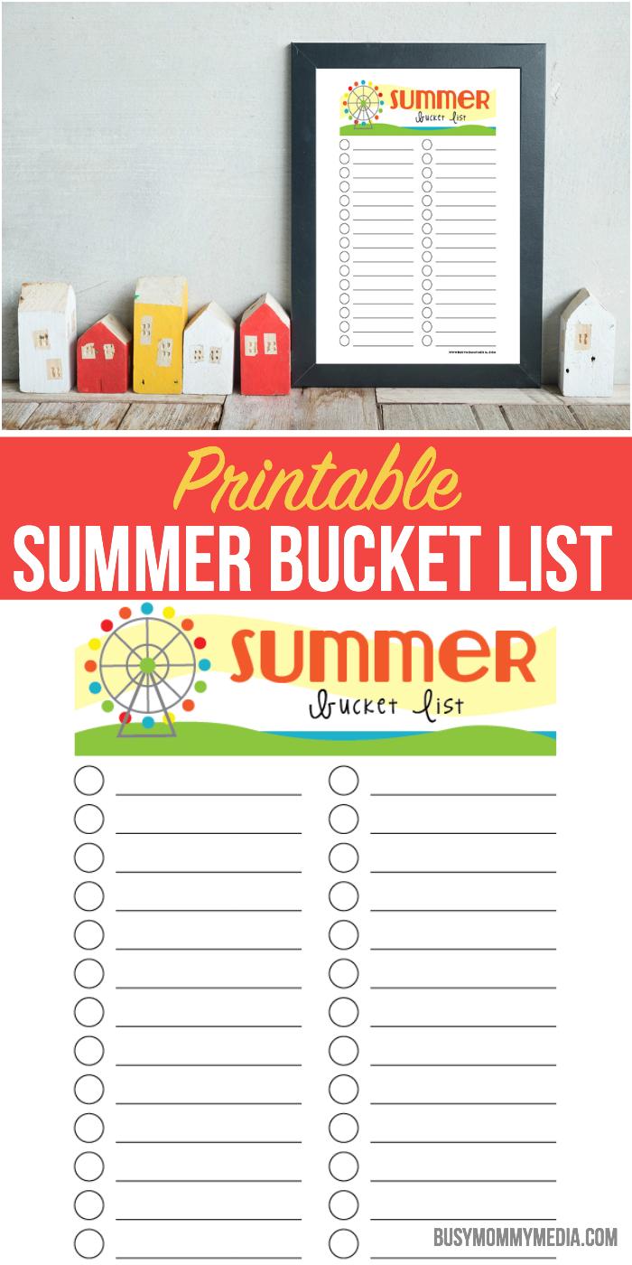 Printable Summer Bucket List