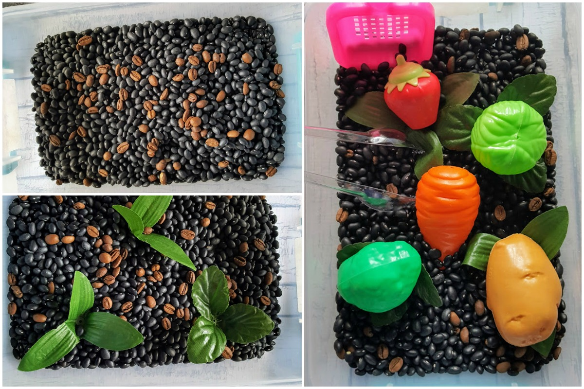 Veggie Garden Sensory Bin for kids