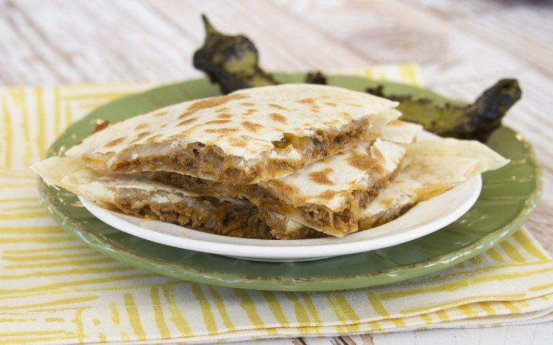 Roasted Green Chili Pork Quesadillas