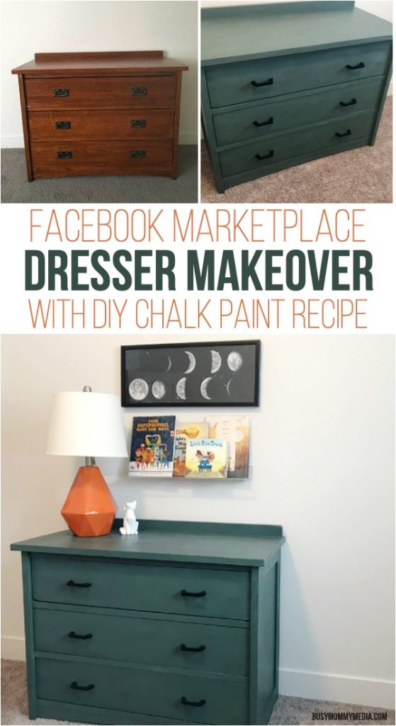 Facebook Marketplace Dresser Makeover with DIY Chalk Paint Recipe